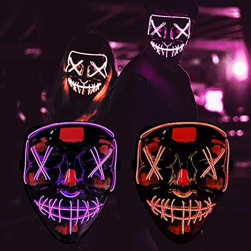 Cynamus Máscara LED Halloween, Mascaras Luces LED Neon Luminosas, LED Máscaras...