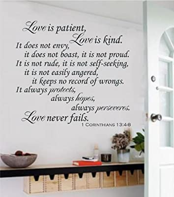 Enchantingly Elegant Love Is Patient Love Is Kind Christian Bible Verse Words Vinyl Decal Wall Sticker