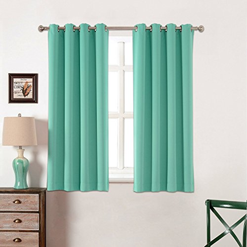 Toxic Free 52 W X 63 L Inch Grommet Top Blackout Curtains for Kids Thermal Insulated,Set of 2 Panels with Bonus Tie Back (Light Teal)