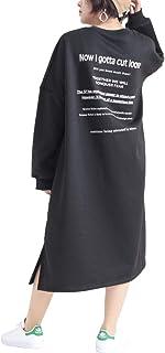 [ゴールドジャパン] 大きいサイズ レディース ワンピース トレーナー ロゴ ドロップショルダー ドルマン
