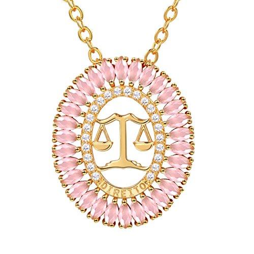 Suplight Hohl Oval Anhänger Sternzeichen Waage Sternbild Halskette 18k vergoldet Rosenquarz Stein Geburtstag Geschenk für Damen Frauen Mädchen