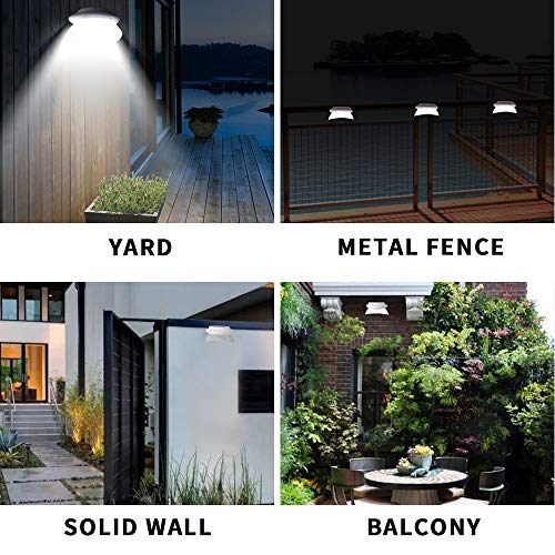 Owalle Solar Fence Gutter Lights with 9 LED Chips for Deck, Yard, Walkways, Stairs, Patio, Pathway, Driveway Auto On/Off During Dawn and Dusk (White_Cool White Lighting, 1 Pack)