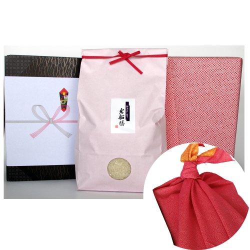 新潟県産コシヒカリ (米袋:ピンク・包装紙:赤・風呂敷:赤)3キロ