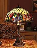 16 pulgadas estilo pastoral vintage mano etapa de vidrio lámpara de mesa rosa lámpara de dormitorio lámpara de noche lámparas de vidrio de salón