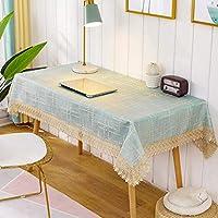 マルチクロス テーブルクロス ポリエステル 緑 レース縁取り 北欧風 テーブルカバー 長方形 108x180㎝ 耐熱 耐久性 汚れ防止 テーブルマット 布 柔らかい 食卓カバー 家庭用 店舗用
