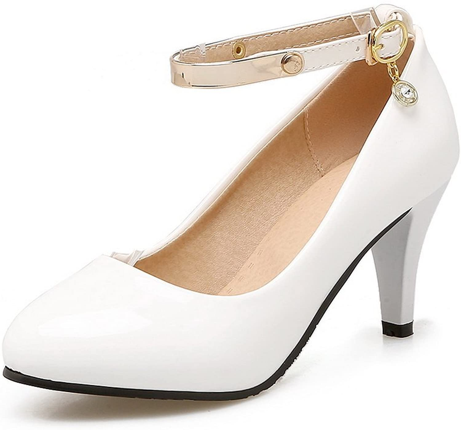 BalaMasa Womens Buckle Round-Toe Low-Cut Uppers Patent-Leather Pumps shoes
