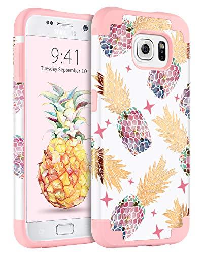 BENTOBEN Samsung S6 Case, Pineapple Glossy Case for Samsung Galaxy S6 (G920), Pink