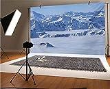 Fondo de vinilo para fotos de montaña de 7 x 5 pies, con diseño de fantasía sobre los Alpes austriacos Cumbre Clima Esquiar Nieve Abeto Tema de Fondo para Selfie Fiesta de Cumpleaños Fotografías