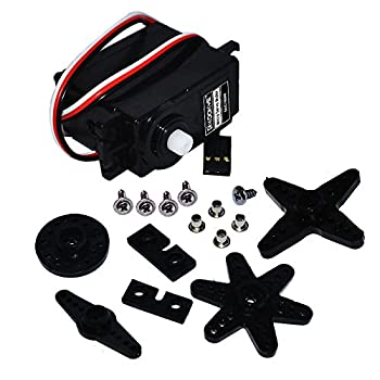 KOOKYE 1PCS Mini Servo Motor 360 Degree Continuous Rotation w/Servo Horn Set  Arm X Wheel Star  for RC Car Robot Helicopter Airplane Model