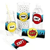 Big Dot of Happiness Bam Superhero - DIY Party Supplies - Baby Shower or Birthday Party DIY Wrapper Favors and Decorations - Set of 15