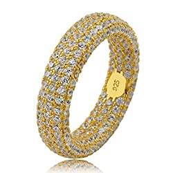 Gold 925 Sterling Silver Fully Iced Out Diamond Ring