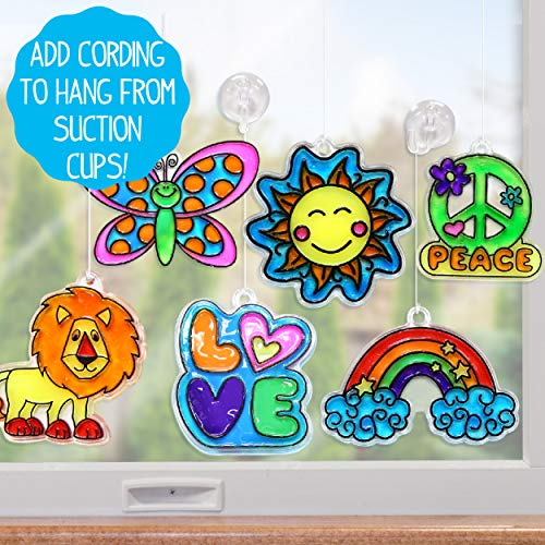 Made By Me Create Your Own Window Art by Horizon Group USA, Paint Your Own Suncatchers. Kit Includes 12 Pre-Printed Suncatchers + DIY Acetate Sheet, Window Paint, Suction Cups,