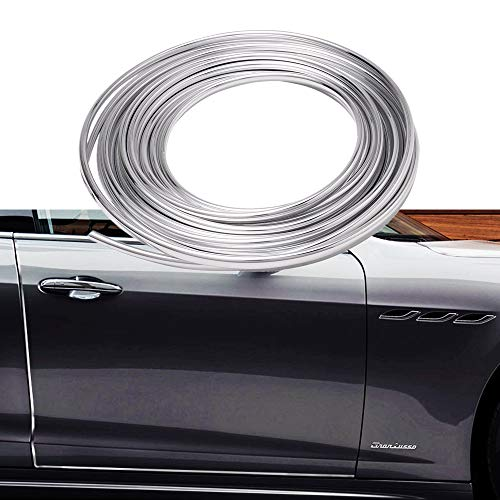 Goodream Door Edge Guard Chrome, Edge Trim Molding Protector Cover Rubber Seal for Most Car SUV Truck (16Ft)