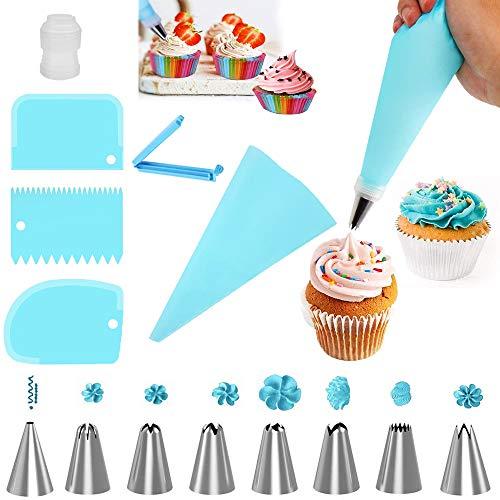 YUANXIASM Boquillas para Manga Pastelera 8 Boquillas Set Rusas Grandes, Acoplador, Bolsa de Silicona y Mas Accesorios para Hornear Juego de Decoración para Cupcakes, Decoración de Pasteles (Azul)