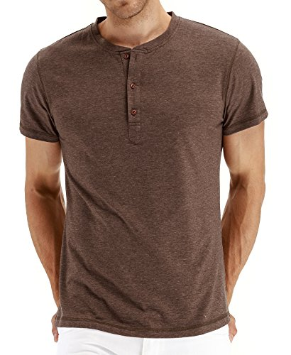 PEGENO Men's Fashion Casual Front Placket Short/Long Sleeve Henley T-Shirts Cotton Shirts