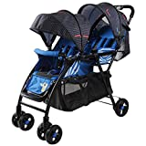 MLKARDUT Convenience Lightweight Stroller, Leichter Sonnenschirm-Kinderwagen mit übergroßem Baldachin, extra großem Stauraum und kompakter Falte (Color : Blau)