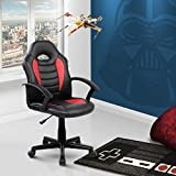 DishyKooker Racer Chair, Kid's Gaming and Student Racer Chair with Wheels, Red