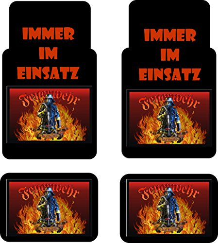 Creativ Deluxe Auto-Fussmatten Bedruckt 4er Set, Feuerwehr Fussmatte für Auto, Bedruckt mit Motiven, auch individuelle Gestaltung