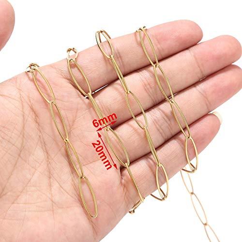 BOSAIYA PJ1 1 Metro de 4 mm Ancho de Acero Inoxidable Círculo de Tono de Oro Rolo Cadena de Enlace para Mujer para Mujer Collar Tl0527 (Color : Gold Long O Smooth)