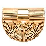 Tubayia Bolso de mano de bambú para mujer, para la playa, para la compra o como regalo, beige,...