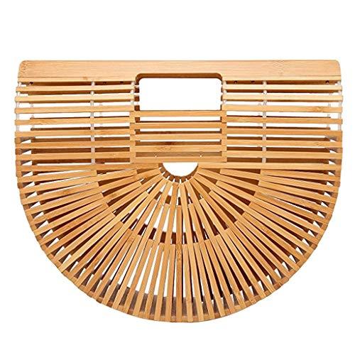 Tubayia Bolso de mano de bambú para mujer, para la playa, para la compra o como regalo, beige, Small