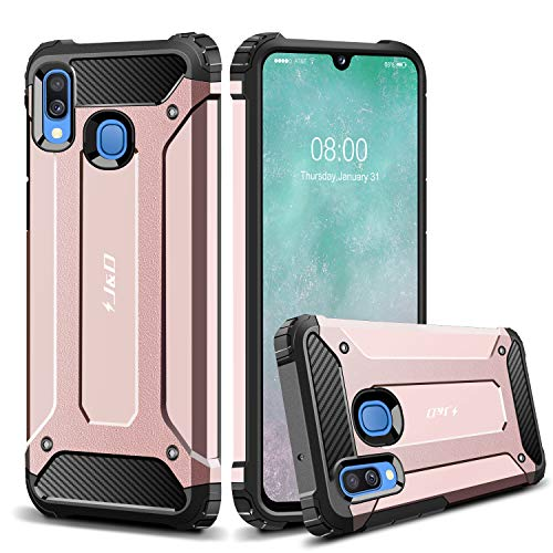 J&D Case Compatible for Samsung Galaxy A40 Case, Heavy Duty ArmorBox Dual Layer Shock Resistant Hybrid Protective Rugged Case for Galaxy A40 Case, Rose Gold