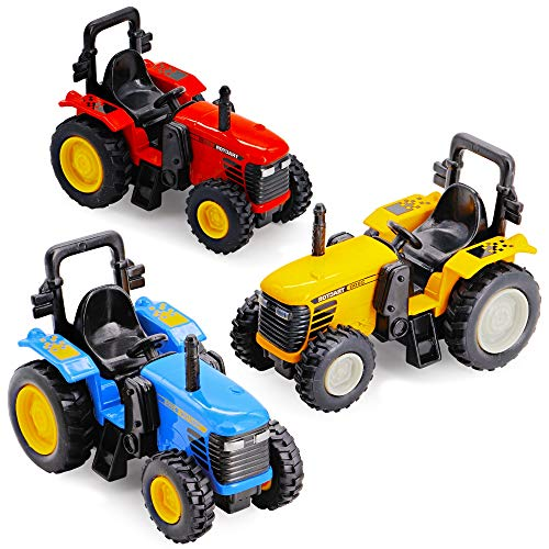 SRENTA 4 inch Die Cast Pull-Back Monster Tractor, Pullback Farm Tractor, 3, Pack of 3