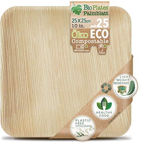 Compostbare palmbladplaten biologisch afbreekbaar - palmblad borden - zonder kunststof folie - rechthoekig, vele maten - biologisch afbreekbare folie - wegwerpborden, duurzaam - milieuvriendelijk - feest