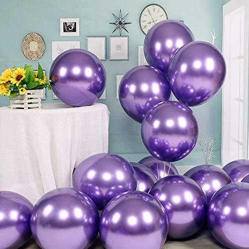 Party Balloons 50 Pcs 12 inch Metallic Balloons Latex Birthday Balloons Helium Shiny Balloons Thick Chrome Balloons- Metallic Purple Balloon