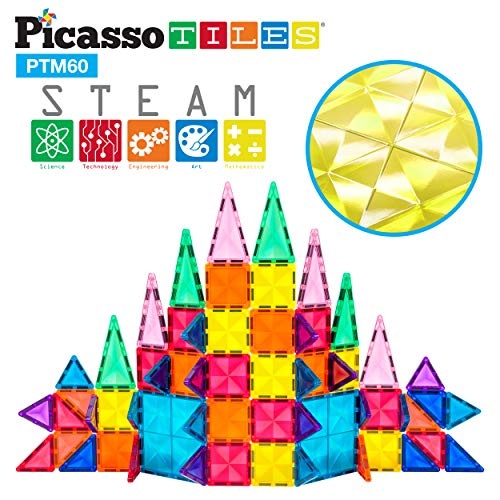 PicassoTiles 60 Piece Magnetic Building Block Mini Diamond Series Travel Size On-The-Go Magnet Construction Toy Set STEM Learning Kit Educational Playset Child Brain Development Stacking Blocks PTM60