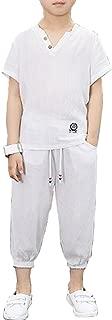 Boys White Green Blue Linen T Shirt Pants Suits Summer Two Piece Set