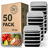 WGCC Meal Prep Containers, 32OZ 50 Pack Extra-thick Food Storage Containers with Lids, Plastic Microwavable Bento Box Reusable Storage Lunch Boxes BPA Free, Stackable, Dishwasher/Freezer Safe