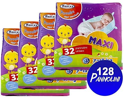 Maury's 128 Pannolini Maxi 7-18kg 4x32pz Taglia 4 Super assorbenti Anatomici Sempre asciutti Ipoallergenici