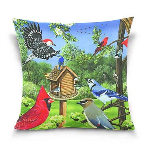 FULUHUAPIN Fundas de cojín de lana de algodón con diseño de plantas de pájaros, para sofá, decoración del hogar, 50 x 50 cm, 2030417