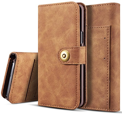 Galaxy S7 Wallet Case, SAVYOU S7 Detachable Magnetic Wallet Folio Flip Leather Card Holder Case with Removable Slim Hard Back Cover for Sanmsung Galaxy S7 (Brown)