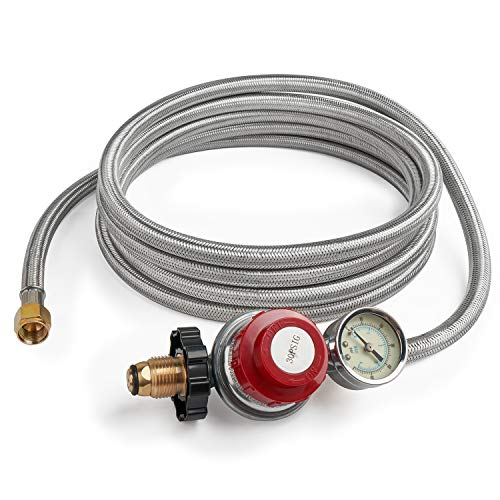 GASPRO 12 Foot 0-30 PSI High Pressure Adjustable Propane Regulator with Gauge/Indicator, Stainless Steel Braided Hose, Gas Grill LP Regulator for Forge, Burner, Turkey Fryer, Smoker,Grill and More.