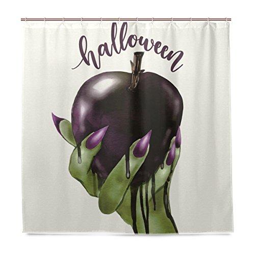 SENNSEE Halloween-Duschvorhang, Hexe hält vergiftet, Apfel-Duschvorhang mit Haken für Kinder, 66 x 72 cm, Polyester Stoff wasserdicht für Badezimmer, Polyester-Stoff, Mehrfarbig, 72x72