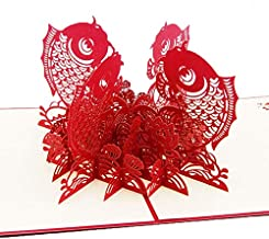 3D Pop Up Card - 3D Pop Up Paper Laser Cut Greeting Cards Creative Personalized Handmade Koi Fish Postcards Birthday Festival Gift