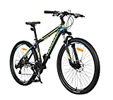 YEOGNED 725 27.5 Aluminum Mechanical Lockout Fork Suspension Mountain Bike Disc Brake Outdoor Sports Cycling Bicycle(Blue)