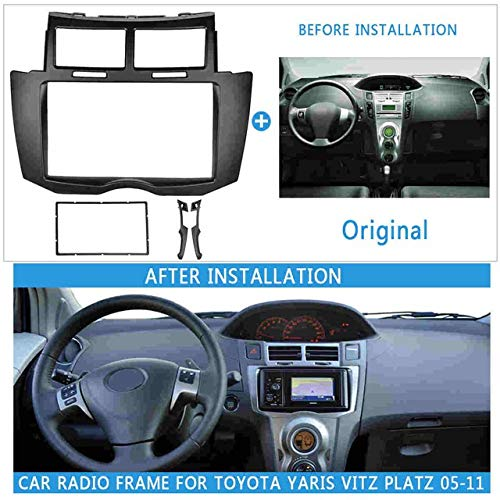 2 DIN Car DVD/CD Radio Stereo Fascia Del Pannello Telaio Fitting Adapter Kit In Forma For Toyota Yaris Vitz Platz 2005 2006 2007 2008 2009-2011 (Color Name : Without wire)