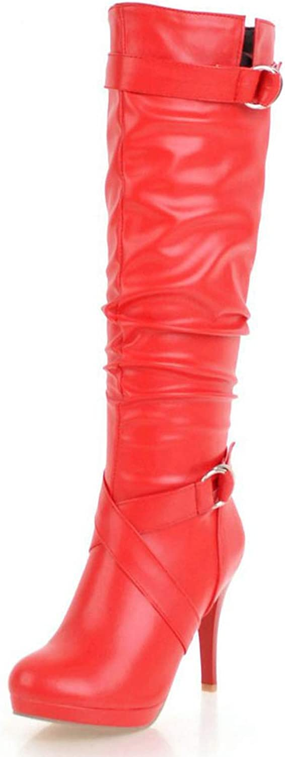 SENERY Women Buckle Knee-high Boots Fashion Thin High Heels Winter Boots Round Toe Thigh High Platform Booties