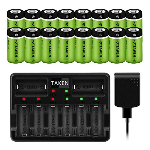 Taken 16 Pack 3.7V 750mAh Rechargeable Batteries and Charger for Arlo Cameras (VMC3030/VMK3200/VMS3330/3430/3530), Flashlight, Microphone