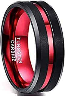 NUNCAD Men's 8MM Black and Red Tungsten Carbide Ring Matte Finish Beveled Edges Size 7 to 16