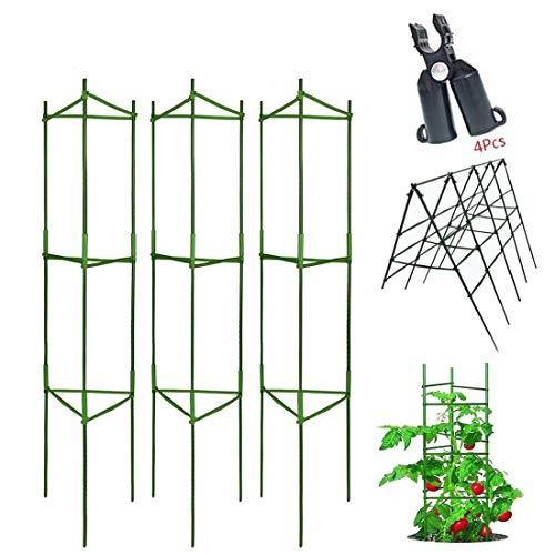 3pcsPlantes de Support,Cage à tomates,Stable Support de Plante de Tomate,Jardin Treillis Fleur Support en Acier Inoxydable Grimper légumes & Fleurs et Fruits Grow Cage,avec bielle,réutilisable (180cm)