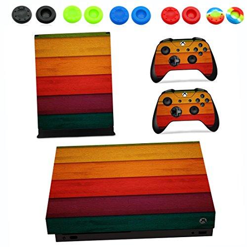 Xbox One X Pegatina Decals Morbuy Skin Adhesivo de Vinilo Stickers Cover Estilo Personal Protector Console and 2 Controllers+ 10pc Silicona Thumb Grips (Color madera grano)