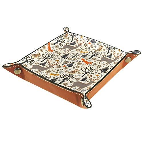 TIZORAX - Bandeja de piel con diseño de animales del bosque dibujados a mano, bandeja de almacenamiento para la mesita de noche, organizador de escritorio para llaves de monedas, piel sintética, Multicolor, 16x16cm