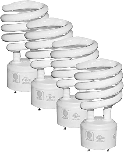 SleekLighting - GU24 23Watt 2700K 1600lm 2 Prong Light Bulbs- UL approved-120v 60Hz - Mini Twist Lock Spiral -Self Ba...