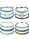 12 Pieces Wave Strand Bracelet Set Handmade Adjustable Friendship Bracelet Handcrafted Jewelry Women (Blue Black Wave)
