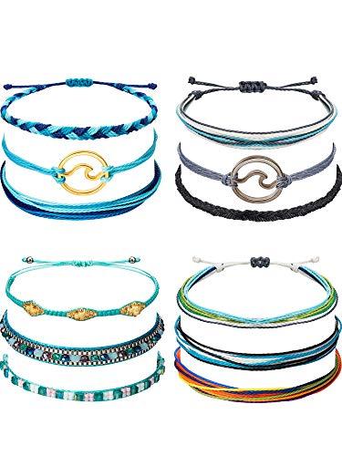12 Pieces Wave Strand Bracelet Set Handmade Adjustable Friendship Bracelet...