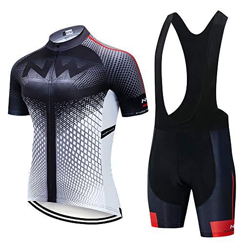 Traje de ciclismo de manga corta para hombre + 9D Gel acolchado babero corto secado rápido ropa de ciclismo